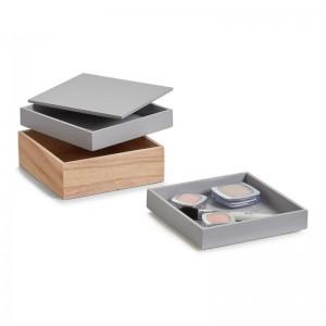set de 3 boites superposees rangement maquillage bois gris zeller 15173