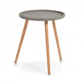 Guéridon table basse trois pieds bois plateau gris Zeller