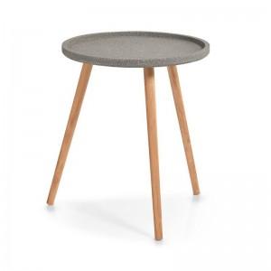 gueridon table basse trois pieds bois plateau gris zeller 17001