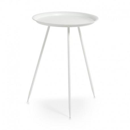 gueridon table basse trois pieds metal blanc zeller 17003