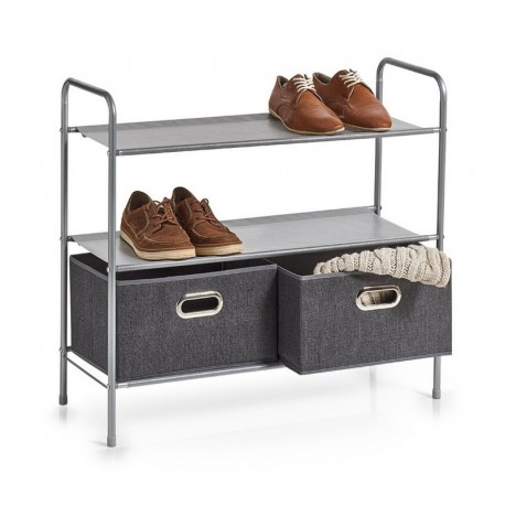 Rangement chaussures avec 2 tiroirs métal tissu gris Zeller