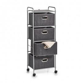 meuble rangement 4 tiroirs tissu gris metal zeller 17159