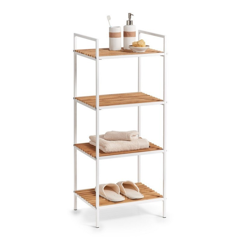 etagere colonne salle de bains metal blanc bois bambou. Black Bedroom Furniture Sets. Home Design Ideas