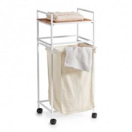 Meuble étagère panier à linge intégré métal blanc Zeller