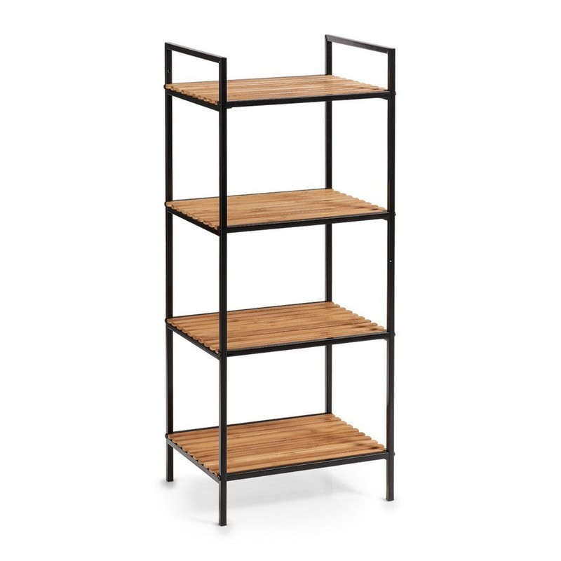 etagere colonne salle de bains metal noir bois de bambou zeller 18725. Black Bedroom Furniture Sets. Home Design Ideas