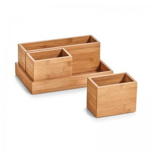 set de boites organiseur rangement salle de bains bois bambou zeller 25387