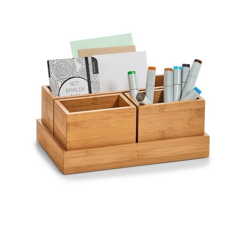 set de boites organiseur rangement salle de bains bois bambou zeller ...