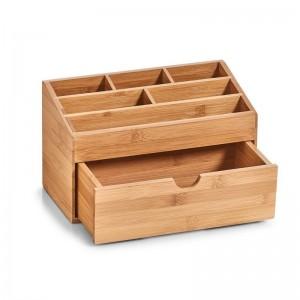organiseur rangement cosmetiques avec tiroir bois bambou zeller 25386