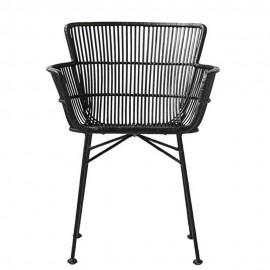 Chaise design métal rotin House Doctor Cuun noir