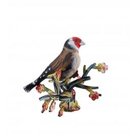 Oiseau décoratif mural bois chardonneret Miho Red Baron