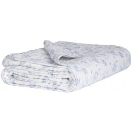plaid coton matelasse blanc petites fleurs bleus clairs ib laursen 0744-00