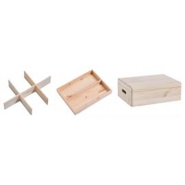 Boîte de rangement en bois compartimentée avec couvercle Zeller 40 x 30 x 15 cm