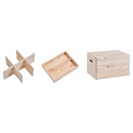 Boîte de rangement bois avec couvercle et compartiments Zeller 40 x 30 x 24 cm
