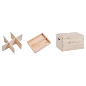 boite de rangement bois avec couvercle et compartiments zeller 13327