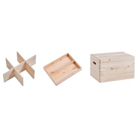 boite de rangement bois avec couvercle et compartiments zeller 13327. Black Bedroom Furniture Sets. Home Design Ideas