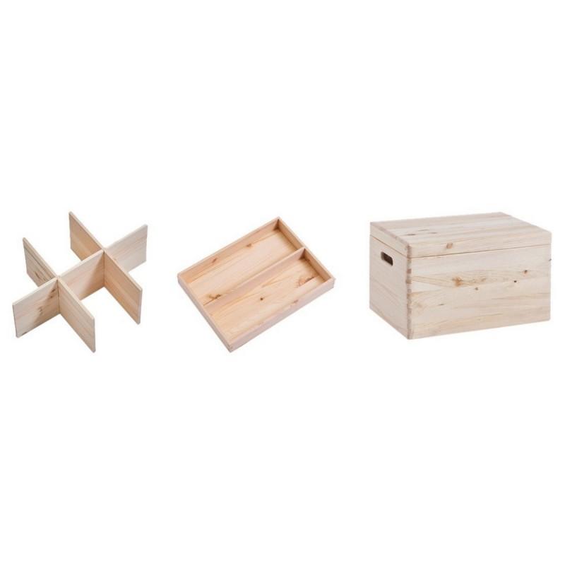 Boite de rangement bois avec couvercle et compartiments zeller 13327 - Boite de rangement avec couvercle ...