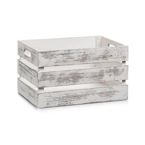 Caisse de rangement vintage bois blanc Zeller 35 x 25 x 20 cm