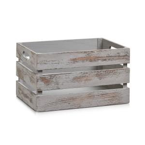 Caisse bois vintage gris Zeller 35 x 25 x 20 cm