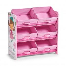 Meuble étagère de rangement jouets bois rose Zeller Girly