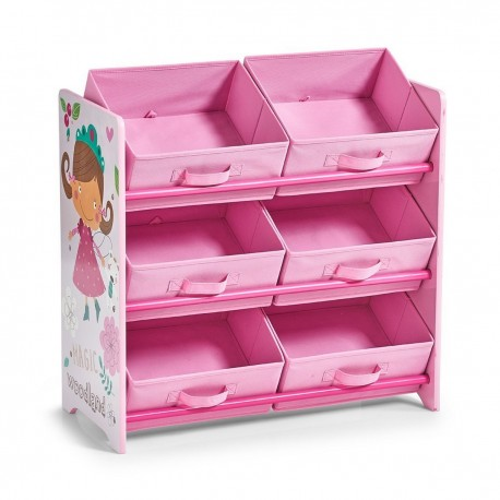 meuble etagere de rangement jouets bois rose zeller girly 13494. Black Bedroom Furniture Sets. Home Design Ideas