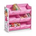 meuble etagere de rangement jouets bois rose zeller girly 13494