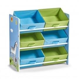 Étagère enfant rangement jouets 6 casiers bleu vert Zeller Safari