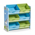 etagere enfant rangement jouets 6 casiers bleu vert zeller 13499