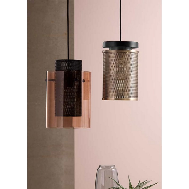 Suspension design metal noir verre bronze frandsen cora for Suspension design noir