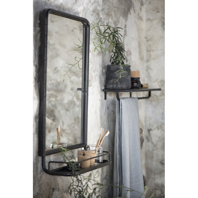 Miroir mural vintage retro metal noir etagere ib laursen for Miroir mural metal