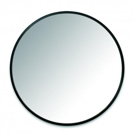 miroir mural rond bord en caoutchouc noir umbra hub 24
