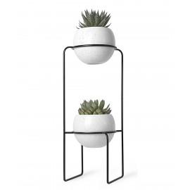 etagere porte plantes design metal noir 2 pots en ceramique umbra 1008047-748
