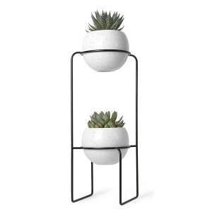 etagere porte plantes design metal noir 2 pots en ceramique umbra 1008047 748. Black Bedroom Furniture Sets. Home Design Ideas