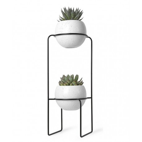 etagere porte plantes design metal noir 2 pots en. Black Bedroom Furniture Sets. Home Design Ideas