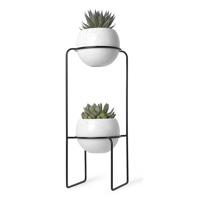 Etagere porte plantes design metal noir 2 pots en ceramique umbra 1008047 748 - Porte plante design ...