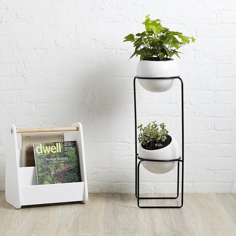 etagere porte plantes design metal noir 2 pots en. Black Bedroom Furniture Sets. Home Design Ideas