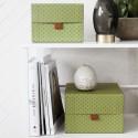 Set de 2 boîtes de rangement décoratives House Doctor Fan vert