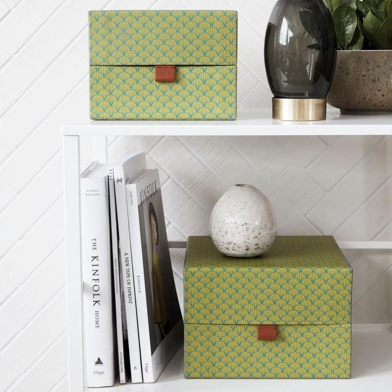 set de 2 boites de rangement decoratives vert house doctor fan sk1366. Black Bedroom Furniture Sets. Home Design Ideas