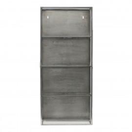 Vitrine étagère murale vintage métal gris vitrée House Doctor Cabinet Zinc
