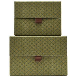 set de 2 boites de rangement decoratives vert house doctor fan Sk1366