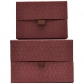 Boîtes rangement carton décoratif House Doctor Ray rouge