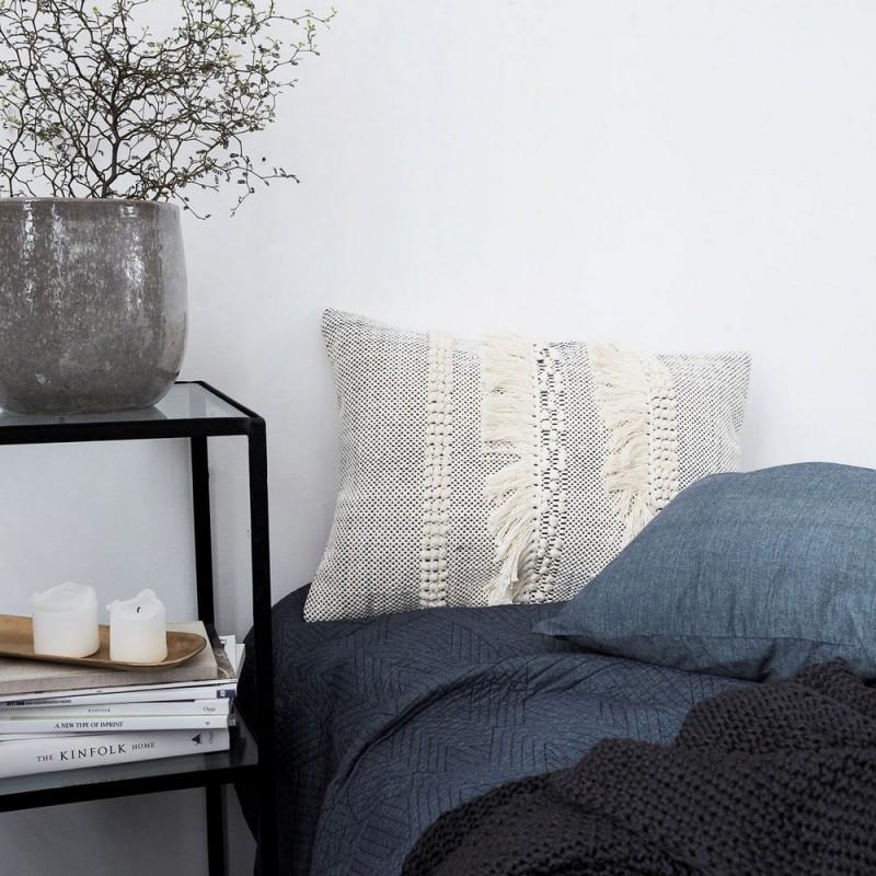 housse de coussin ethnique boheme coton franges house. Black Bedroom Furniture Sets. Home Design Ideas