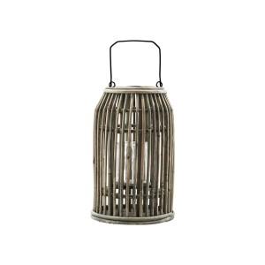Photophore lanterne bois rotin naturel House Doctor Ova H 32 cm