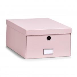 Boîte de rangement en carton rose pastel Zeller