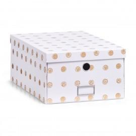 Boîte de rangement carton blanc et dore Zeller