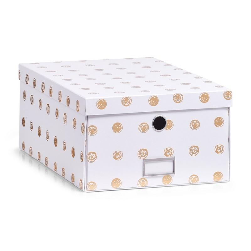 boite de rangement carton blanc et dore zeller 17553. Black Bedroom Furniture Sets. Home Design Ideas