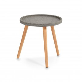 Table basse ronde bois de pin Zeller Concrete D 40 cm