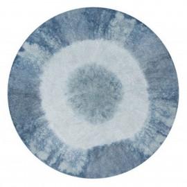 Tapis rond lavable Lorena Canals Tie-Dye bleu vintage 160 cm