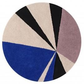 Tapis rond bleu design coton Lorena Canals Geometric