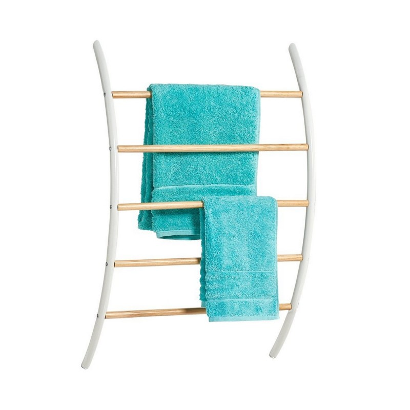 porte serviettes mural metal blanc bois zeller 18730. Black Bedroom Furniture Sets. Home Design Ideas