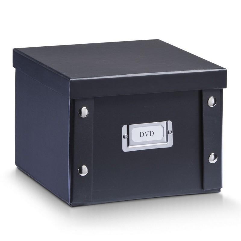 boite en carton noir rangement dvd zeller 17943. Black Bedroom Furniture Sets. Home Design Ideas